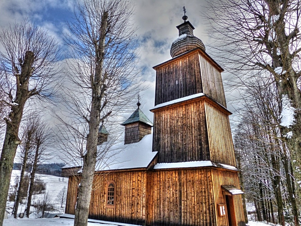 Drevený kostolík Vyšný Komárnik, Svidník, Slovensko