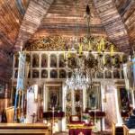 Drevený kostolík zvnútra, Vyšný Komárnik, Svidník, Slovensko