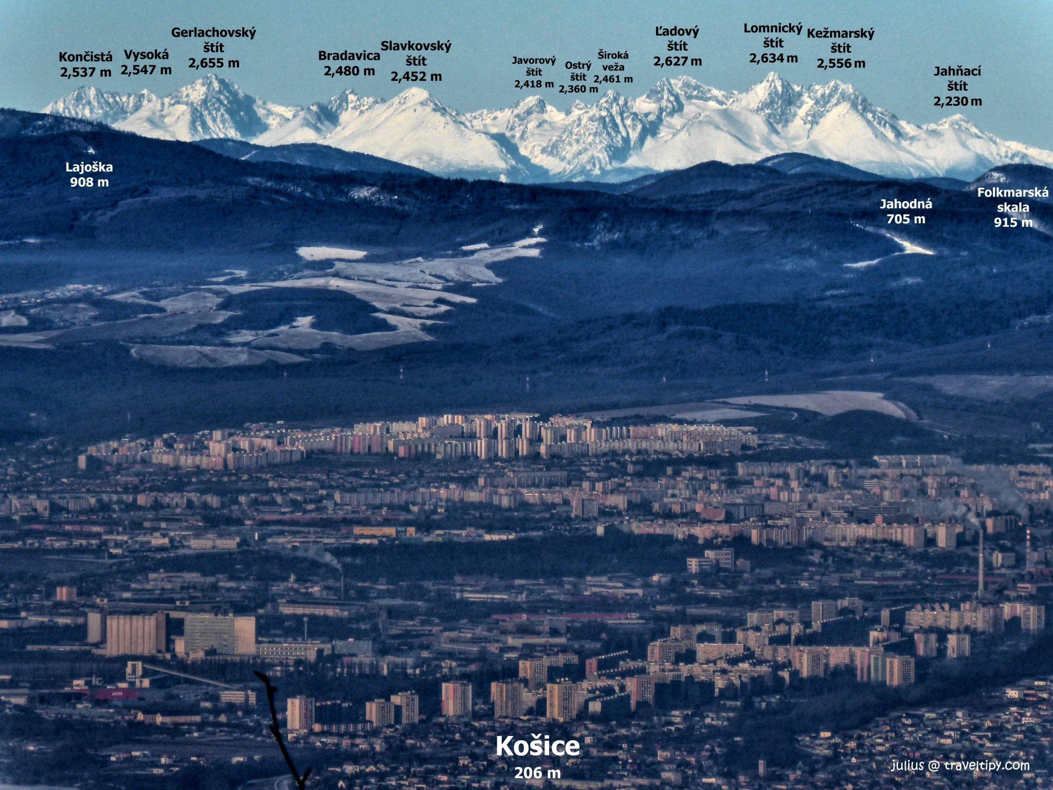 Košice a Tatry z vrchu Bradlo (840m), Slanské vrchy, Východné Slovensko