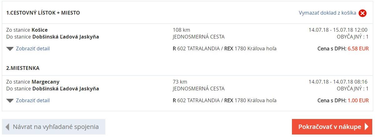 Cena lístka bežným vlakovým spojením ŽSR, Kosice -> Dobšinská ľadová jaskyňa