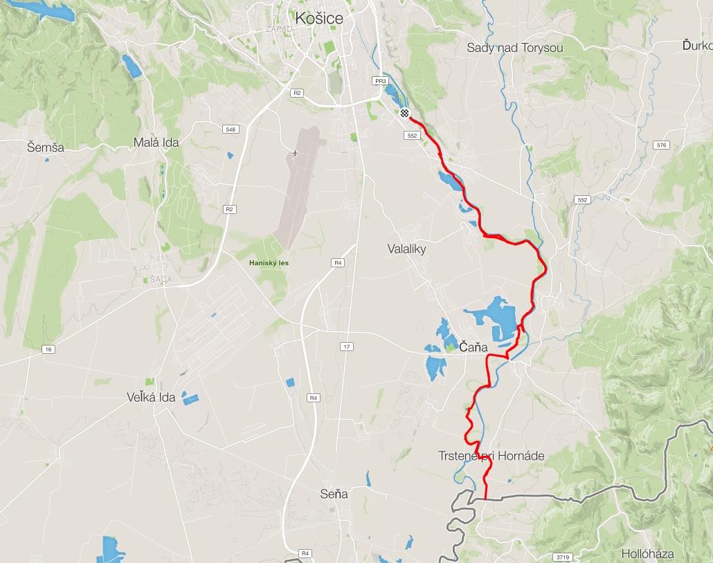 cyklotrasa kosice trstene mapa